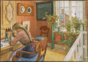 Carl Larsson: Brevskrivning. NMB 1438